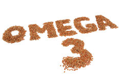 Omega 3 Written in Flax Seeds Isolated on White Background Royalty Free Stock Image