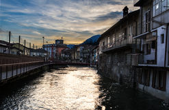 Omegna at sunset. Piemonte, Italy stock photos