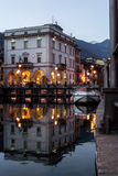 Omegna at sunset. Piemonte, Italy royalty free stock photos