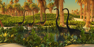 Omeisaurus Dinosaur Watering Hole Stock Images