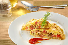 Omelet. With nice table setup Royalty Free Stock Images
