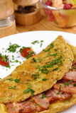 Omelet with bacon Stock Photo