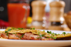 Omelet with bacon Stock Photography