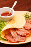 Omelet with bacon Royalty Free Stock Photography