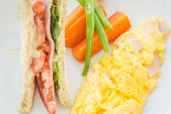 Omelet with bacon and sandwich Royalty Free Stock Photos