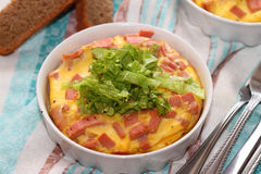 Omelet. The baked omelet with sausage, lettuce leaves and rye bread Stock Photos