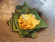 Omelet on banana leaves Royalty Free Stock Images