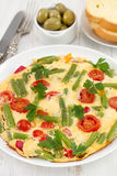 Omelet with beans and tomato Stock Photo