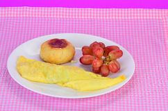 Omelet and Biscuit Royalty Free Stock Photos