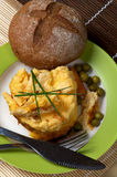 Omelet and Bun Royalty Free Stock Images