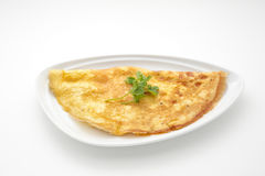 Omelet with celery leaves Stock Photo