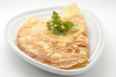 Omelet with celery leaves Stock Photos