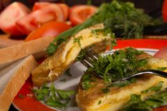 Omelet with cheese and fresh herbs on the table Royalty Free Stock Photos