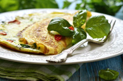 Omelet with cheese and herbs. Stock Photos