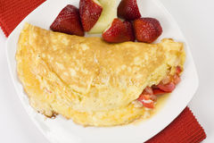 Omelet with Cheese Red Peppers and Tomatoes Royalty Free Stock Images