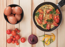 Omelet with cherry tomato Stock Photos