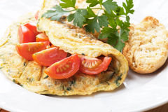 Omelet with cherry tomato Royalty Free Stock Photo