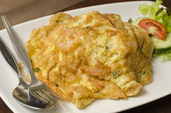 Omelet with chopped shrimp. With rice Stock Photography