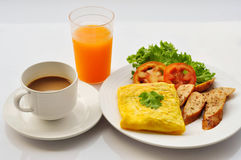 Omelet with coffee. Breakfast menu set Royalty Free Stock Photo