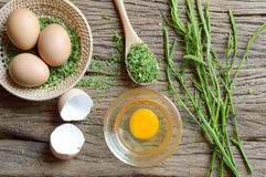 Omelet cooking. Egg and acacia pennata ingredient for cooking, Thai cuisine, calls that cha-om omelet Stock Photography