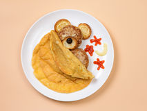 Omelet with cutlets Stock Photos