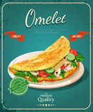 Omelet day. Poster with omelet and milk in vintage style. Royalty Free Stock Photography