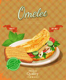 Omelet day. Poster with omelet and milk in vintage style. Stock Photo