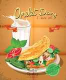 Omelet day. Poster with omelet and milk in vintage style. Royalty Free Stock Photo