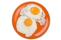 Omelet die op wit wordt geïsoleerdr Stock Afbeeldingen