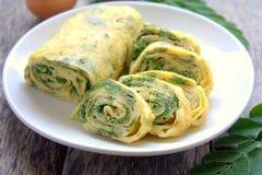 Omelet Egg Rolls. With moringa oleifera royalty free stock photo