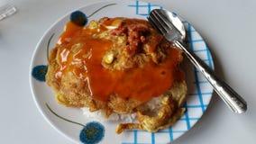 Omelet en rijst Stock Foto