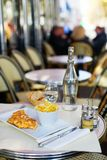 Omelet and French fries in a Parisian restaurant Stock Images