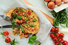 Omelet with fresh vegetables Royalty Free Stock Image