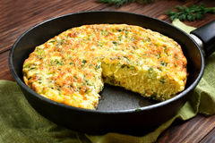 Omelet in frying pan Stock Image