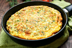 Omelet in frying pan Royalty Free Stock Images