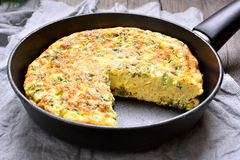 Omelet in a frying pan Royalty Free Stock Photography