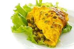 Omelet with green peas Royalty Free Stock Photography