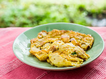 Omelet on green plate Stock Photography