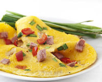Omelet with ham Stock Photography