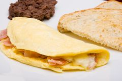 Omelet with ham and cheese Stock Photography