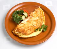 Omelet with Ham and Cheese. Ham and cheese omelet on brown plate with herb and vegetable garnishes stock images