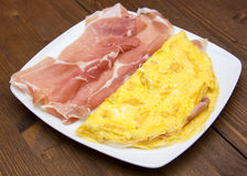 Omelet with ham closely Stock Photos