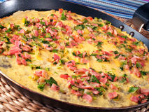Omelet with ham and herbs Stock Photography