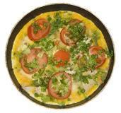 Omelet with herbs and tomatoes Royalty Free Stock Image