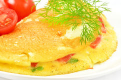 Omelet with herbs and vegetables Royalty Free Stock Images