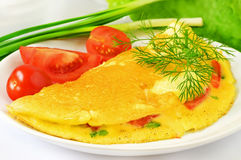 Omelet with herbs and vegetables Stock Photo