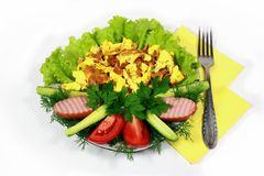 Omelet with meat and lettuce Royalty Free Stock Images