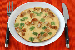 Omelet with meat and vegetables Stock Photography