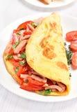Omelet met groenten en ham Royalty-vrije Stock Afbeeldingen