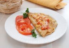 Omelet met tomaten Stock Foto